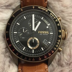 Fossil watch brown leather strap